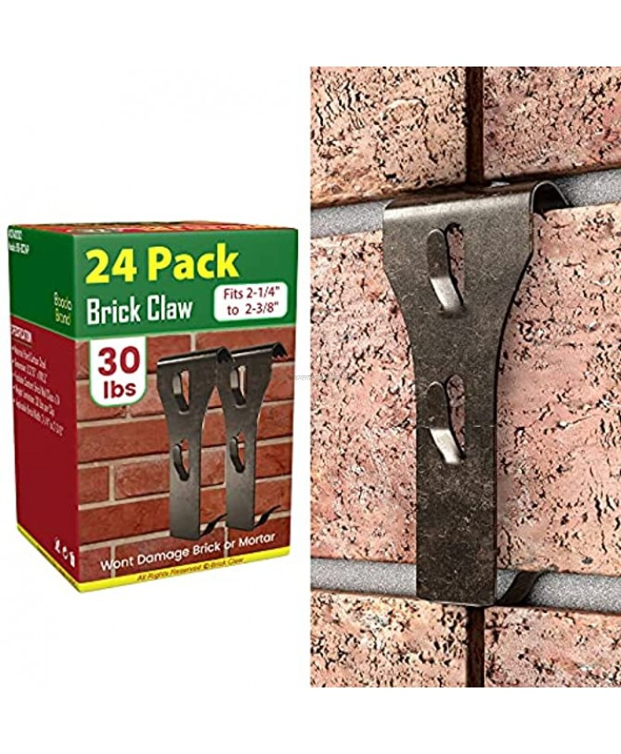 Brick Hooks Clips 24 Pack for Hanging No Drill Brick Hangers for Wall Hanging Outdoor Indoor Heavy Duty Brick Wall Hangers Clamps Without Nails Fits Standard Brick 2-1 4 to 2-3 8 in Height