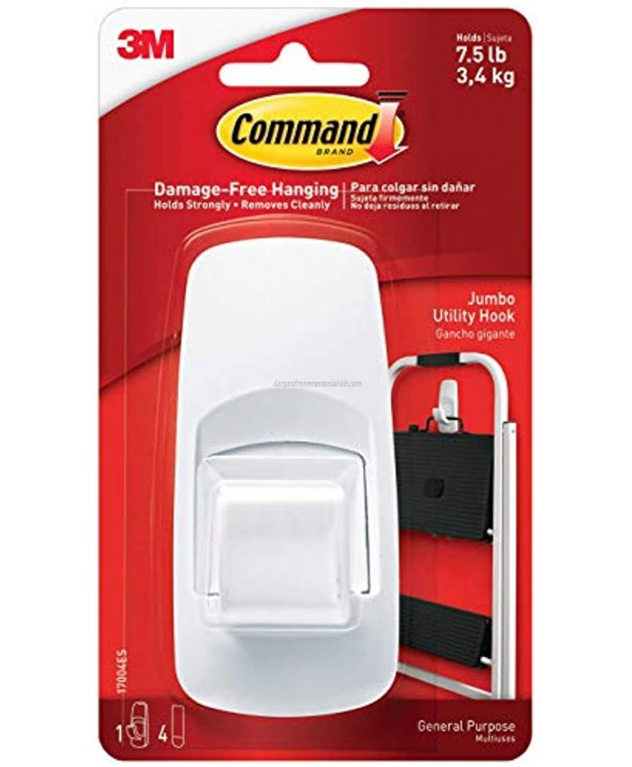 Command 4-Packages of 7.5 lb Capacity Hook Indoor Use Jumbo White 17004ES