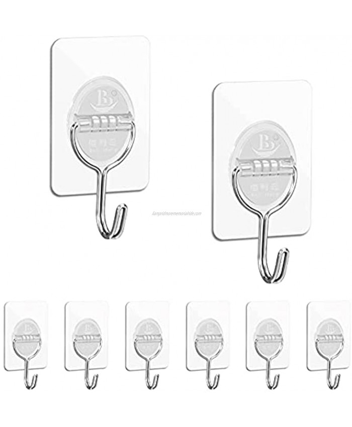 Diesisa Adhesive Wall Hooks Sticky Hooks for Hanging 8 Packs Adhesive Hooks Reusable Seamless Wall Hook for 13LbMax for Kitchen Bathroom Ceiling Clear