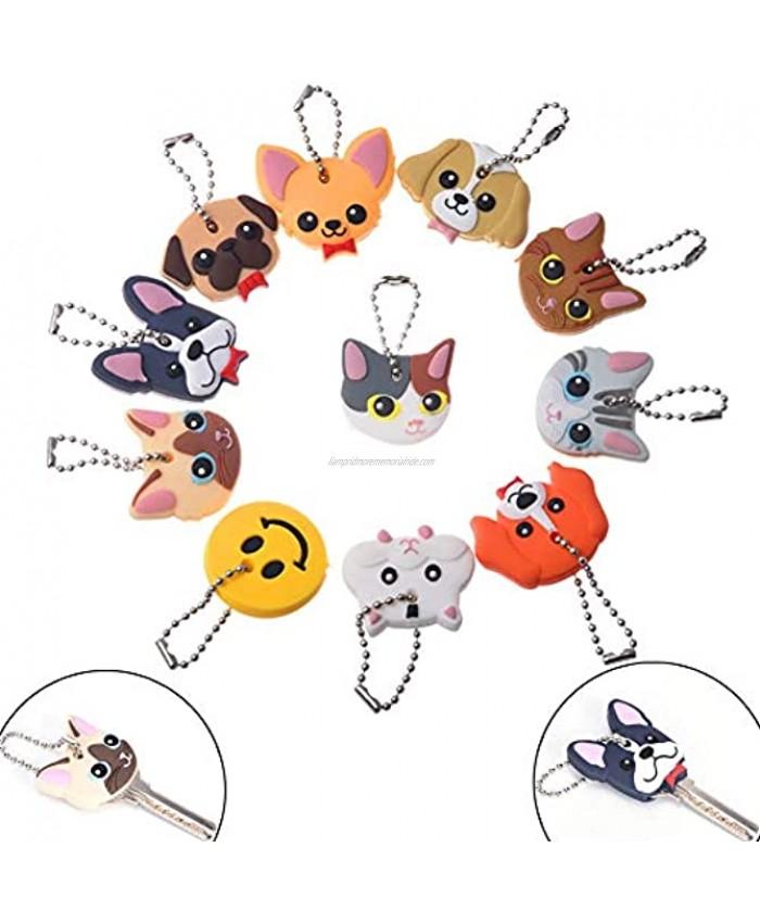 11Pcs Multicolor Cute Dog and Cat Key Caps Key Identifier Caps Animal Key Holder