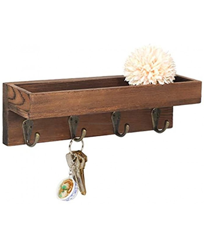 DOCMON Key Holder for Wall with Shelf Wall Mounted Rustic Wood Entryway Storage Shelf with 4 Metal Hooks Brown 10.0 W x 3.0 D x 3.0 H