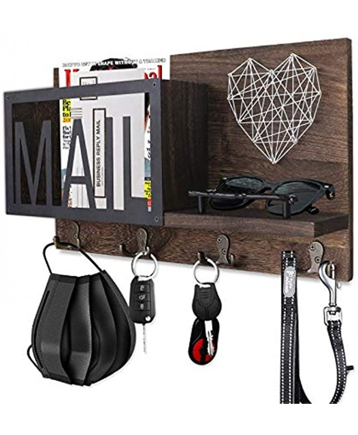 FREEDHIN Mail Organizer Wall Mount with 4 Key Hooks Key Holder for Wall Wooden Mail Sorter Organizer and Floating Shelf Rustic Home Decor for Entryway or Mudroom Dark Brown