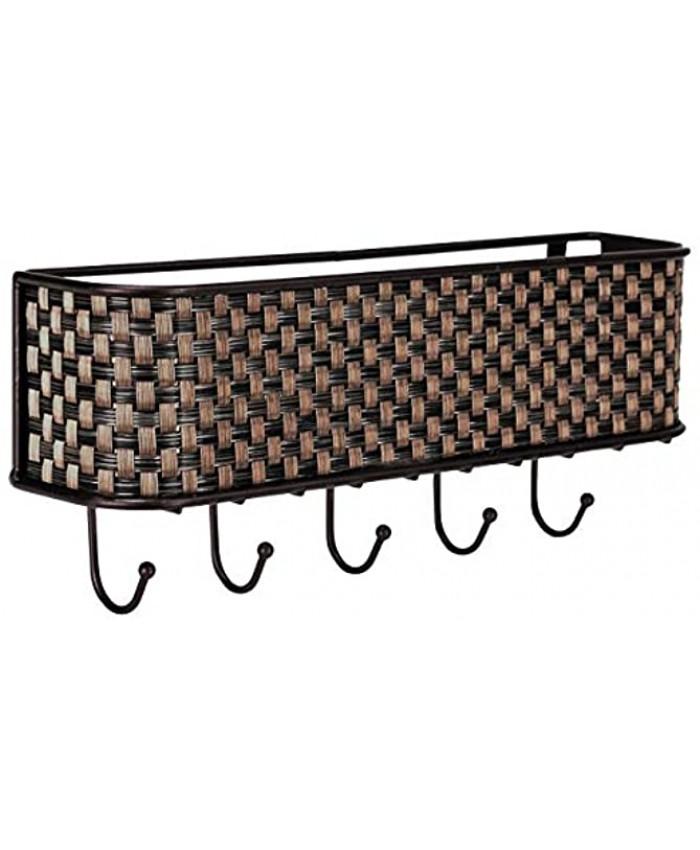 Home Basics Wall Mount Mail Letter Organizer Basket Shelf and 5 Key Hook Holder in Brown Weave