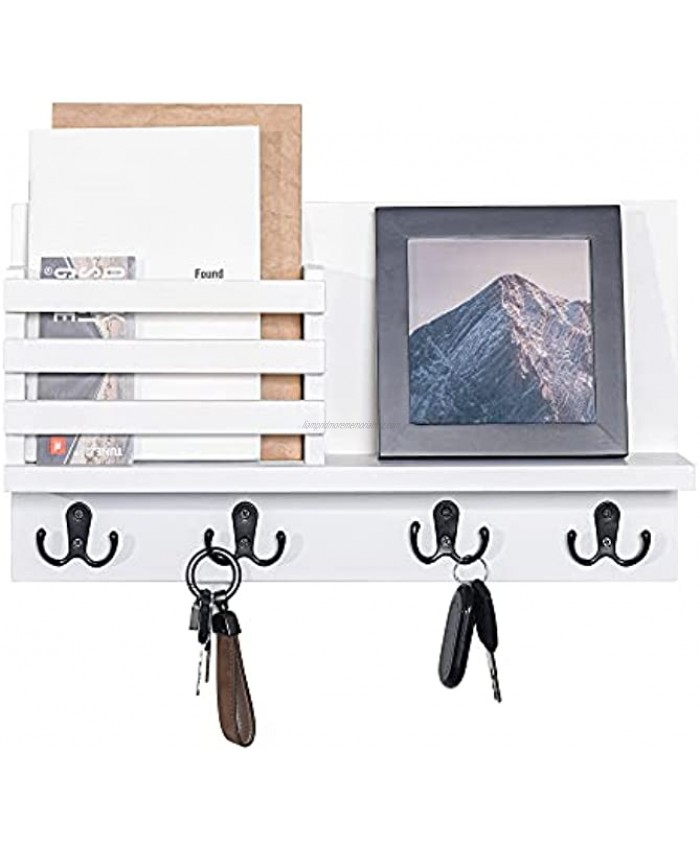 Labcosi White Key and Mail Holder for Wall Modern Entryway Mail Organizer and Rack with 4 Key Hook for Entryway Hallway Office Kitchen