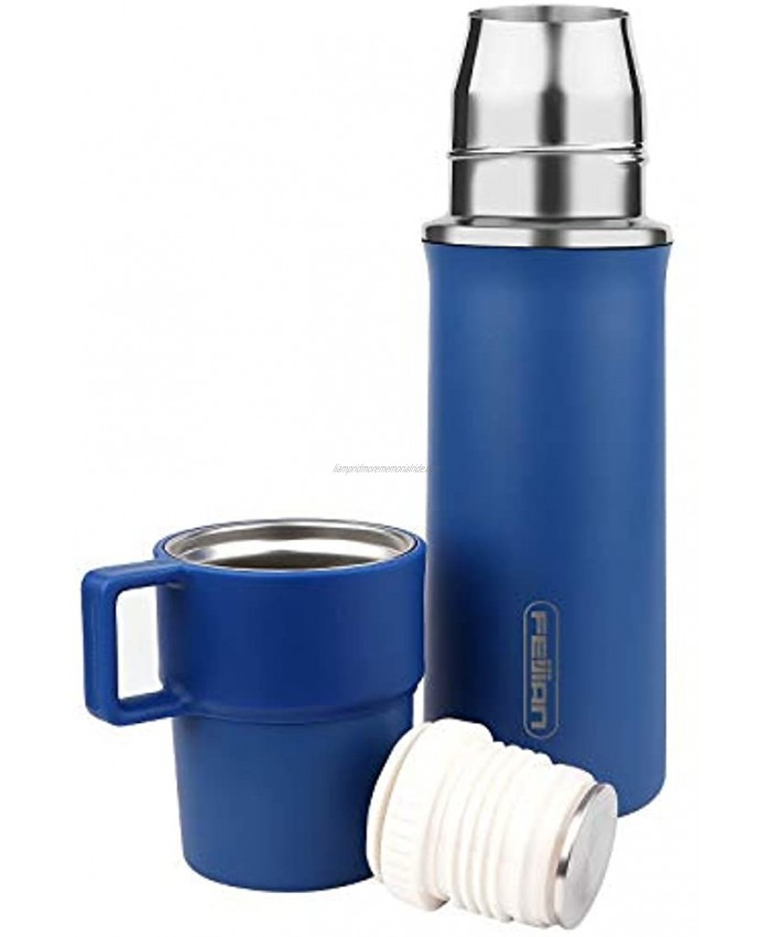 FEIJIAN Thermos Add-A-Cup Water Bottle Insulated Vacuum Stainless Steel Beverage Bottle for Hot & Cold Drink Coffee Travel Mug Thermal -Leakproof Build-in Lid Cup Integrated Handle 21 OZ Blue