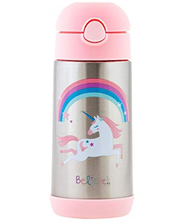Stephen Joseph Double Wall Stainless Steel Bottles Insulated Water Bottle for Kids Toddlers Vacuum Insulated Bottle with Straw BPA-Free Water Bottle – 11.8 Ounces UNICORN