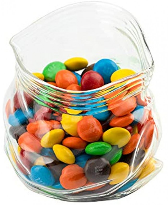 8 Ounce Unzipped Glass Zipper Bag 1 Small Unzipped Glass Bag Realistic Crinkled Edges Serve Candy Popcorn or Nuts Clear Glass Bag Bowl Dishwasher-Safe Flat Base Restaurantware