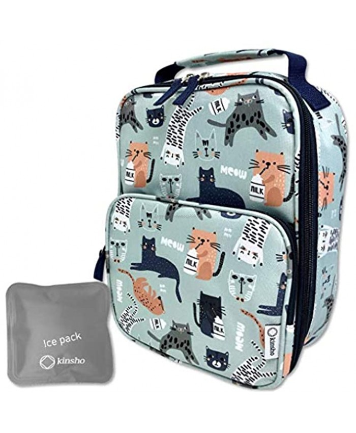 Cat Lunch Box for Girls Women with Ice Pack Cute Insulated Bag for Tween High School Girl Container Boxes for Big Kid Snacks Lunches BPA Free Fits Kinsho Bento Green Modern Cats