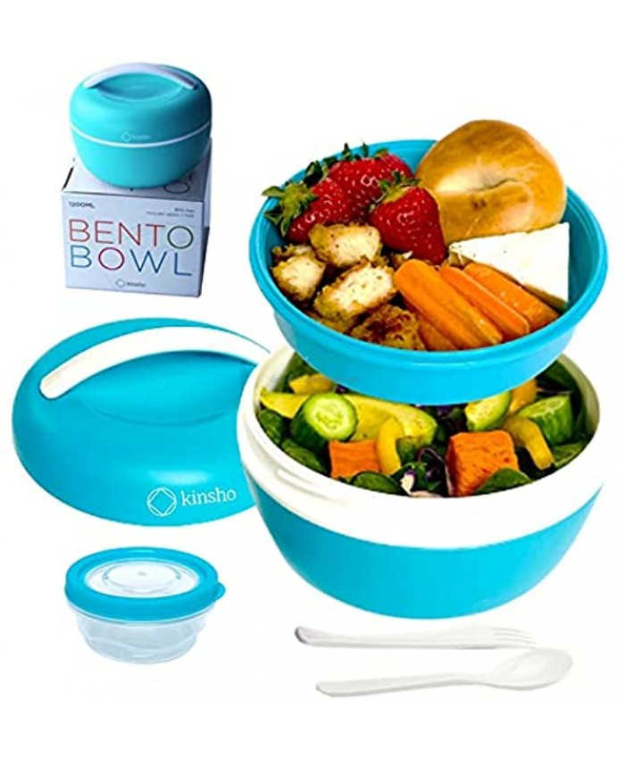 Salad Bento Box Bowl Container for Lunch | Lunch-Box To-Go Containers for Adults | Meal Prep Kit with Lid Fits Big Salads for Women Teens | Utensils Dressing Cup BPA-Free Blue