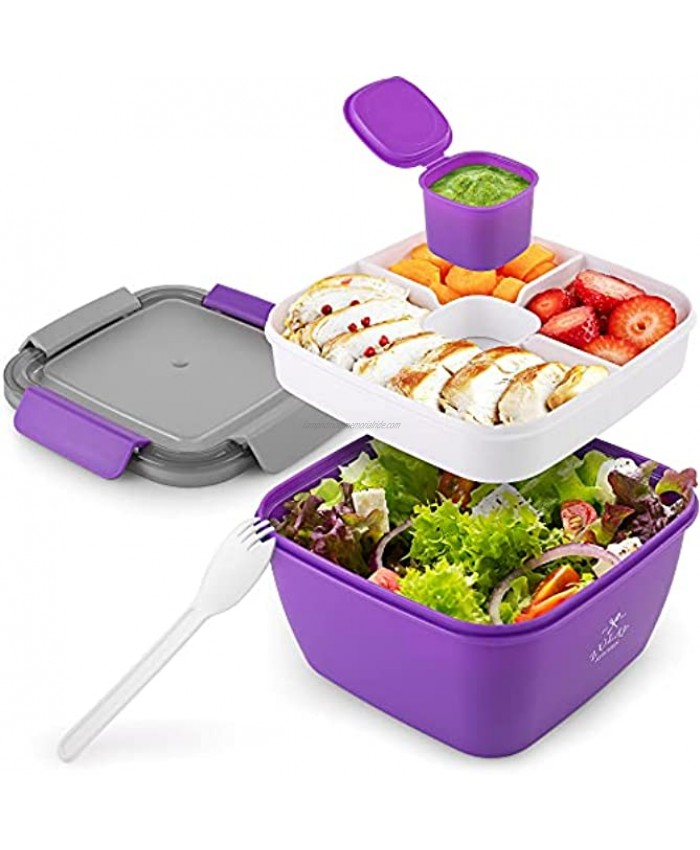 Zulay 52oz Salad Container For Lunch BPA Free Leak Proof Salad Dressing Container To Go With Smart Lock Design Salad Lunch Container With Dressing Container & Reusable Spork Purple