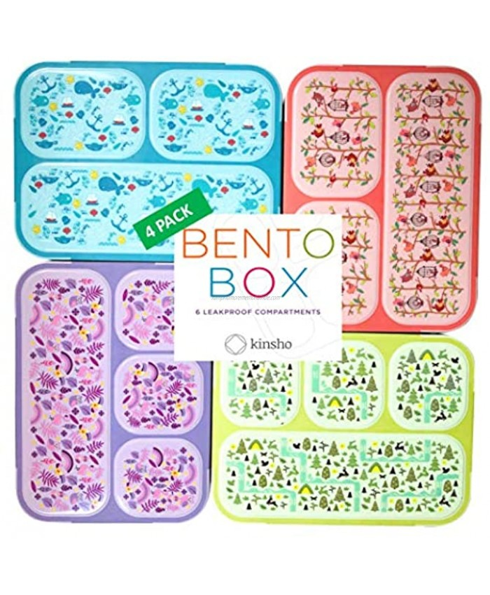 Bento Box for Kids Lunch-Boxes for Girls Boys | Snack Containers for Toddlers Pre-School | Cute Travel Day-Care Meal Container BPA Free | Blue Pink Purple Yellow-Green 3 and 4 Compartments 4 pack