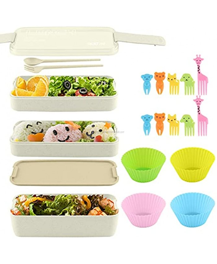 Bento Box Lunch Box Kit Japanese 3-In-1 Compartments Food Storage Containers with Utensils BPA-Free Microwave Safe Stacking Bento Boxes for Kids & Adults By HSYTEK Beige