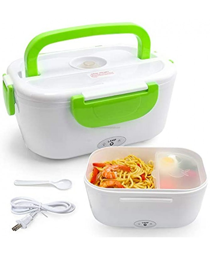VECH Electric Heating Lunch Box Food Heater Lunch Containers Warming Bento for Home & Office Use 110V Hot Lunch Box Green