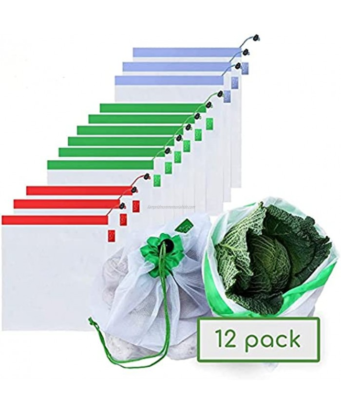 12pcs Reusable Produce Bags Washable Mesh Storage Bag See Through Bags Degradable with Tare Weight on Tags with 3 Different Sizes