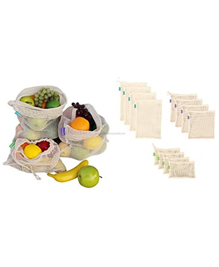 Earthwise Reusable Cotton Produce Bags Premium Set of 12 Grocery Bags Durable Eco Friendly Material for Fruit and Vegetable Transport and Storage