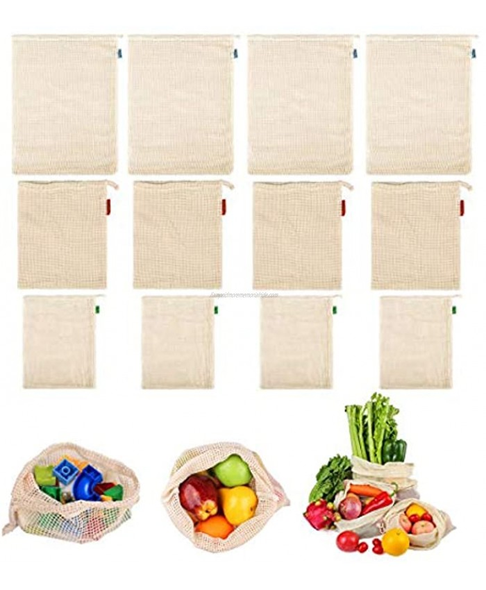 GOTONE 12 Pack Eco Friendly Reusable Produce Bags Biodegradable and Machine Washable Organic Cotton Mesh Bags for Grocery Shopping and Storage with Tare Weight on Tags 4S+4M+4L