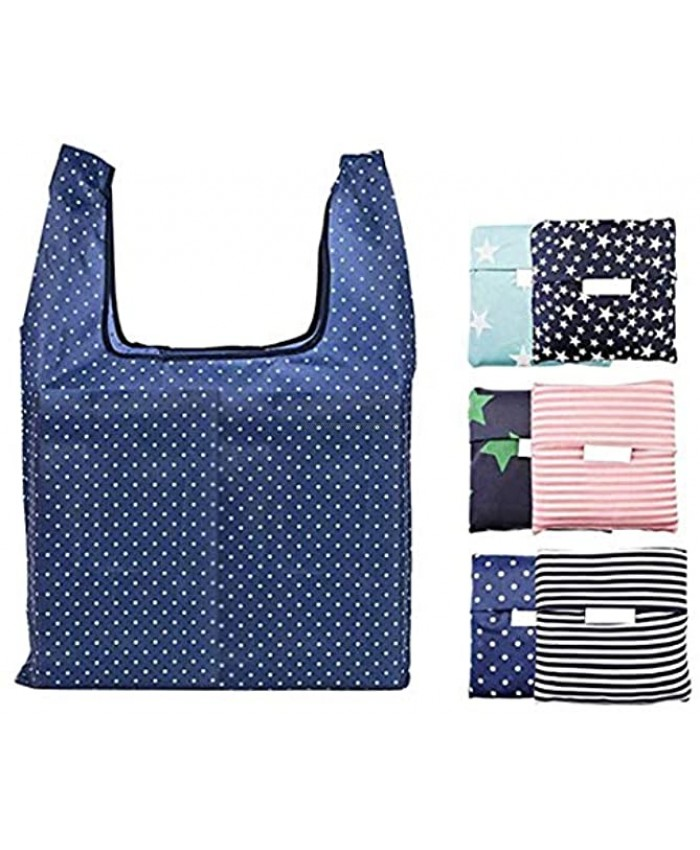 Pack of 6 Reusable Grocery Bags Set Grocery Tote Foldable into Attached Pouch Reinforced Polyester Reusable Shopping Bags Washable Durable and Lightweight