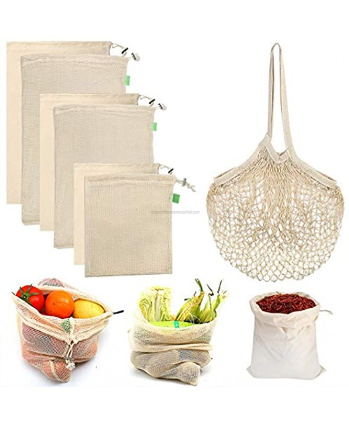 Reusable Produce Bags 7 Pack Organic Cotton Mesh Bags Biodegradable Durable Reusable Grocery Bags Muslin Bags with Drawstring for Shopping & Storage Fruits Vegetables Home Organization Washable